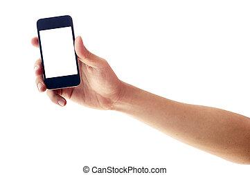 smartphone, isolé, main, téléphone, tenue, ou