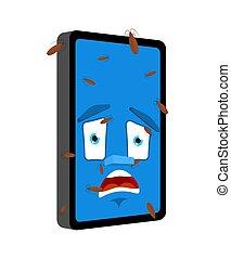 smartphone, isolated., 小道具, パニックに陥る, 電話, ベクトル, infected, 昆虫, 漫画, style., 虫
