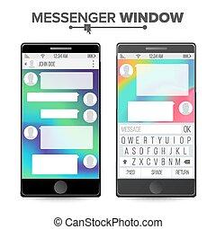 Smartphone Isolated On White Background. Messenger Window. Mobile App For Talking. Speech Bubbles. Vector Illustration