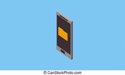 smartphone security folder photo isometric animation hd