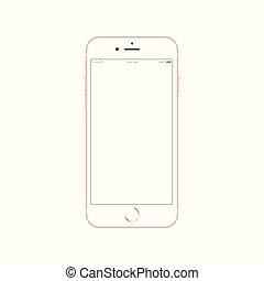 smartphone, jabłko, telefon, ruchomy, ekran, realistyczny, iphone, 6, dotyk, nowy, android