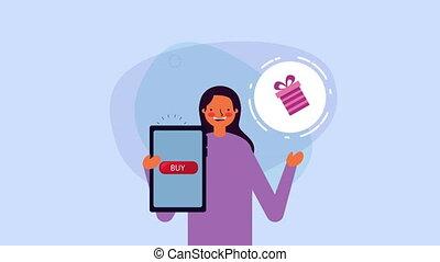 smartphone, jeune, cadeau, femme affaires