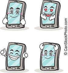 smartphone, jogo, personagem, caricatura, cobrança