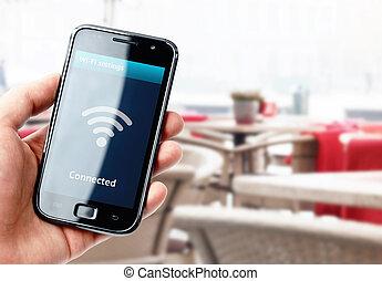 smartphone, kávéház, kéz, összeköttetés, birtok, wi-fi