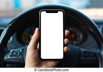 smartphone, kéz, fehér, mockup, birtok, autó, kormányzó, közelkép, ellenző, hím, háttér, wheel.