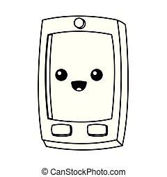 Kawaii Smartphone Character Cartoon Vector Illustration Eps 10