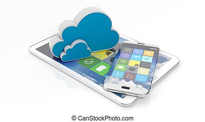 smartphone, kompress, ikonen, apps, isolerat, fyrkant, white., moln