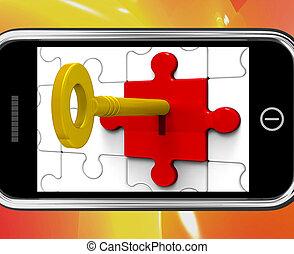 smartphone, låsa, meddelanden, privat, nyckel, visar