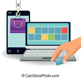 Smartphone laptop and shopping bag design