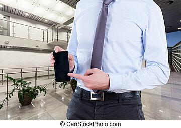 smartphone, lavoratore, ufficio
