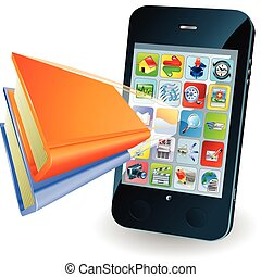 smartphone, libro, concepto