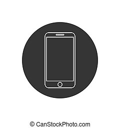 Smartphone line icon in flat style. Mobile phone symbol for your web site design, logo, app, UI