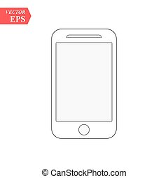 Smartphone line icon in iphone style. Cellphone pictogram in trendy flat style isolated on white background. Telephone symbol for your web site design, logo, app, UI. Vector illustration, EPS 10.