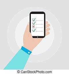 smartphone, lista de verificação, mão, vetorial, desenho, segurando, ícone