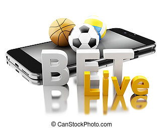 smartphone, live., parier, balles, sport, concept., pari, 3d