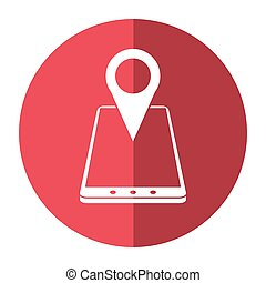 smartphone location pin map gps shadow