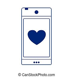 smartphone love heart display romantic isolated icon design line style