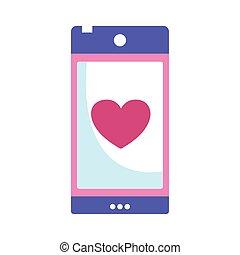 smartphone love heart display romantic isolated icon design
