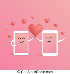 Smartphone love valentines day concept. Cute cartoon character phone with hands, eyes and smile
