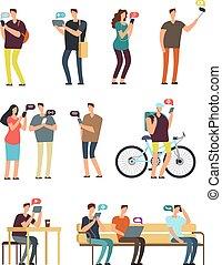 smartphone, ludzie, ruchomy, concept., odizolowany, wektor, litery, internet, używając, nałóg, rysunek, cellphone