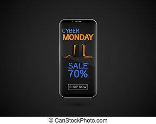 smartphone, lundi, banner., isolé, cyber, sombre, réaliste, vecteur, noir, arrière-plan.