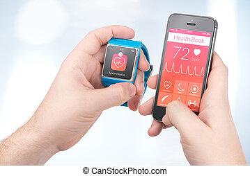 smartphone, mãos, smartwatch, sincronização, saúde, entre, macho, dados, livro