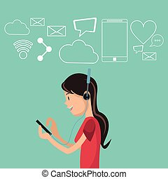 smartphone, média, écouteurs, fond, social, utilisation, girl