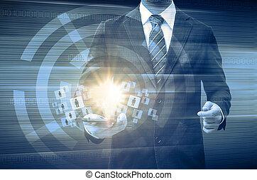 smartphone, mídia, homem negócios, segurando, social, mundo, tecnologia