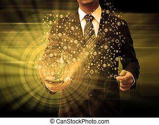 smartphone, mídia, segurando, social, homem negócios, tecnologia