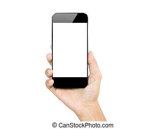 smartphone, móvil, aislado, mano, primer plano, blanco, asimiento