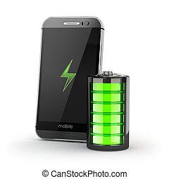 smartphone, móvil, concept., teléfono, carga, ind, adeudo en...