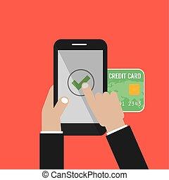 smartphone, móvil, pantalla, ilustración, mano, vector, pagos, asimiento