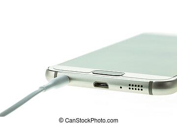 smartphone, macro, isolé, relier, ecouteurs, blanc