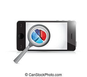 smartphone magnify business concept illustration