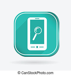smartphone, magnifying glass. Color square icon