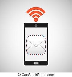 smartphone mail envelope internet wifi icon