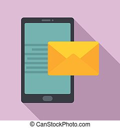 Smartphone mail inbox icon, flat style