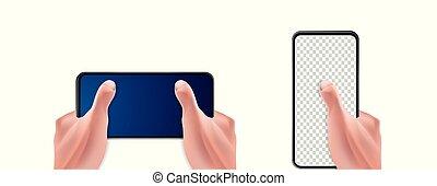 smartphone, main humaine, réaliste, vecteur, tenue, 3d