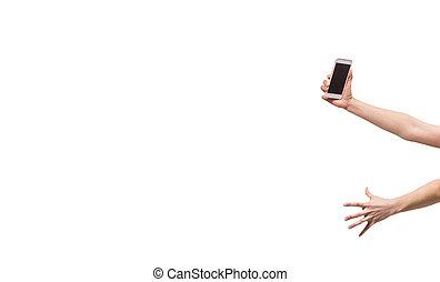 smartphone, mains, blanc, gens, non, fond, isoler
