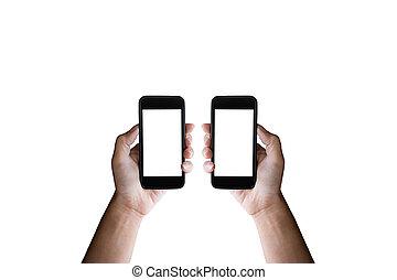 smartphone, mains, isolé, écran, arrière-plan., noir, tenue, vide, blanc, horizontal, homme