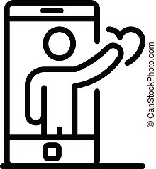 Smartphone man avatar icon, outline style