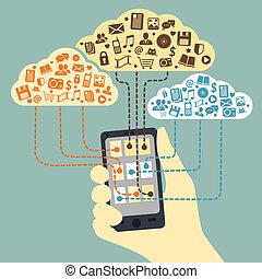 smartphone, mano, collegato, presa a terra, servizi, nuvola