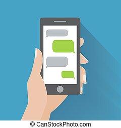 smartphone, mano, discurso, tenencia, blanco, burbujas