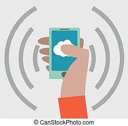 smartphone, mano, icona