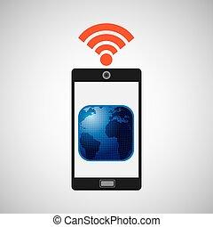 smartphone map globe internet wifi icon