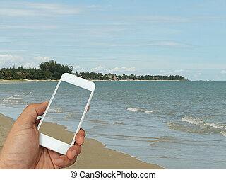 smartphone, mare, fondo, tenendo mano