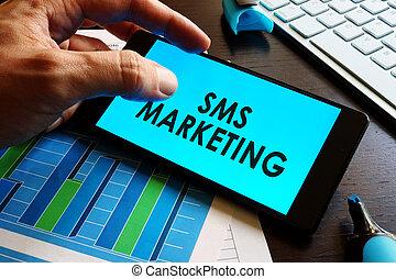 smartphone, marketing., tenue, sms, mots, homme