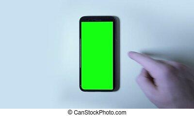 smartphone, marques, vert, écran, main, gestes