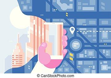 smartphone, marszruta, działki, używając, app, człowiek