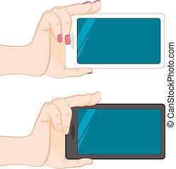 smartphone, maschio, isolato, mano femmina